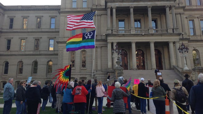 Supporters of same sex marriage demonstrated this week at the state Capitol.