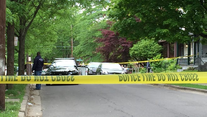 Binghamton police investigate a shooting incident on Pearne Street on Thursday.