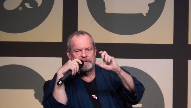 Filmmaker and Monty Python member Terry Gilliam talks to a crowd of over 1,000 at the Iowa Memorial Union Friday night, Oct. 23.