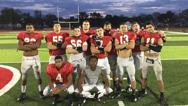 Port Clinton's Russell DeMarco, Eric Wheeler, Corbin Winningham, Stone Scott, Emerson Lowe, Trent Williams, Nathan Stubblefield, Brandon Moore and Aidan Rospert, left to right in back, have starting experience in the postseason. Donte McClure and Darius Daniels, front, can say the same. McClure played in a game for Genoa, while DeMarco did so in Washington. The rest started the Redskins' game against Kenton last season.