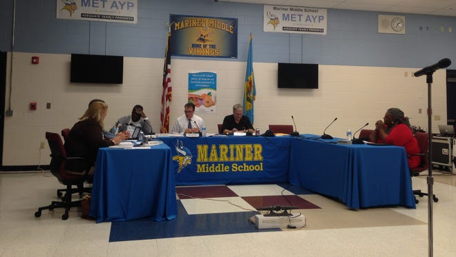 The Cape Henlopen school board during its Nov. 12 meeting.