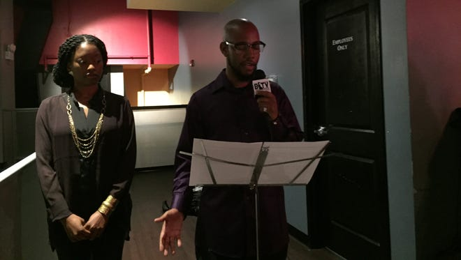Wilmington hip hop artist Richard Raw addresses the media and fans Wednesday night at Bobbi Rhian's Executive Lounge alongside Richard Raw Productions' Shah Jannele.