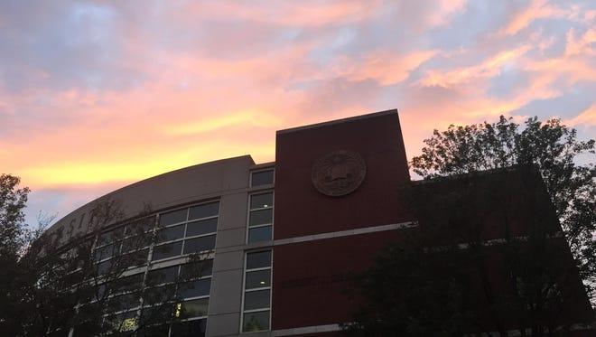 The sun sets over Shillman Hall.