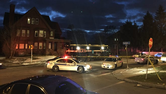 Rochester police on scene at a deadly shooting on St. Paul Street on Jan. 27, 2016.
