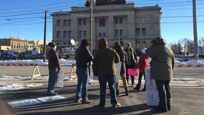 About 30 protestors stand outside Manitowoc County Courthouse to protest  about Steven Avery and Brendan Dassey.