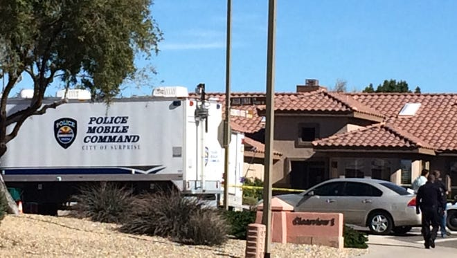 Surprise police were investigating the deaths of two retirement-age women who were found shot dead in the area of Goldwater Ridge Drive and Clearview Boulevard on Feb. 9, 2016.