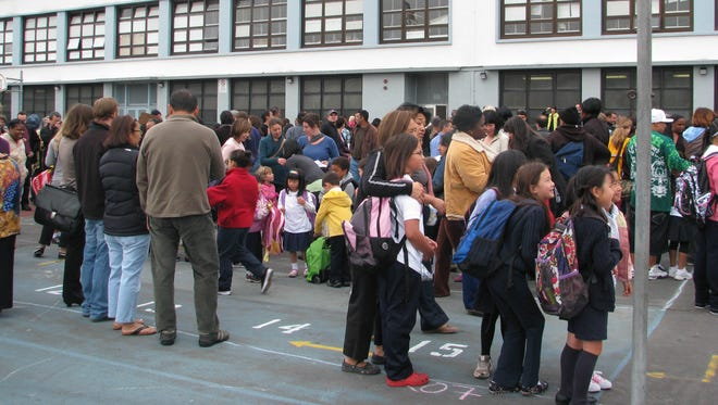 Students at a San Francisco public school on the first day of school, 2009.