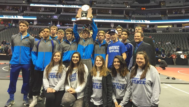 The Poudre High School wrestling team celebrates taking second-place in Class 5A.