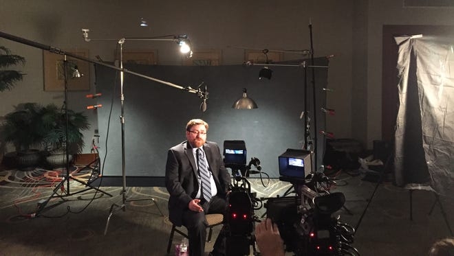 """Mike Farlow, a former Worcester County prosecutor and a current defense attorney, is shown during the filming of a show for which the working title is """"Six Degrees of Murder."""""""