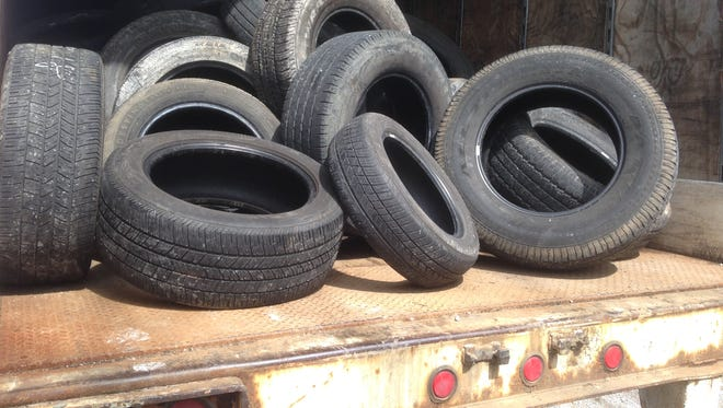 This stack of tires in a Liberty Tire Recycling trailer awaits to be hauled from Bud's Tire Pros shop at 3600 E. Main St. east of Murfreesboro's city limits.