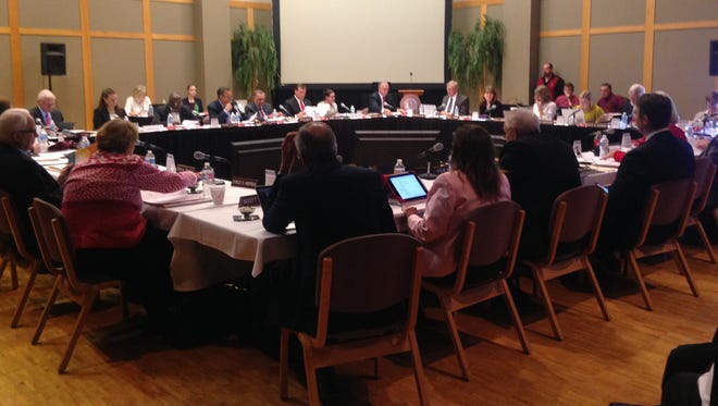 Utah's higher education Board of Regents debate items for the board's approval Friday during a meeting at Dixie State University. The regents approved a 3.5 percent tuition increase for the state's public universities, as well as an additional 1.5 percent bump at DSU.