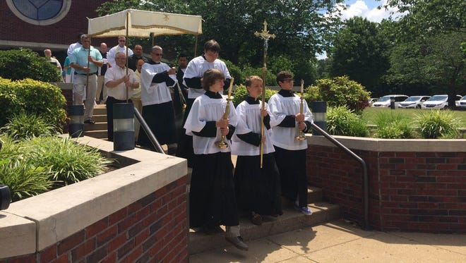 St. Mary's Catholic Church held its annual procession for Feast of Corpus Christi on Sunday.