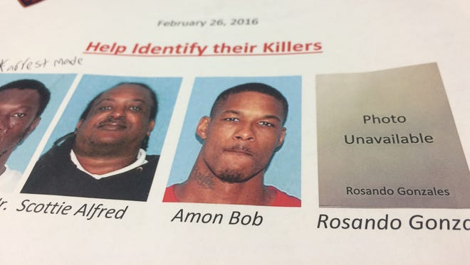 A flyer put out by the Lafayette Police Department featuring the three shooting death the task force is looking to close.