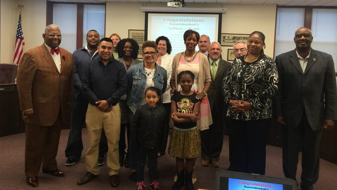 Bridgeton Public Schools Superintendent Thomasina Jones honored the Bulldogs of the Month for April at the May Board of Education meeting.