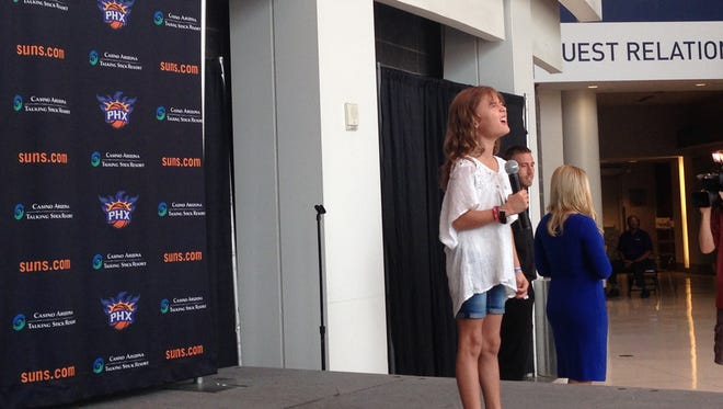 Moranda Smith, 8, was one of up to 100 people who auditioned on Sept. 12, 2016, to sing the national anthem at one of the Suns' home games.