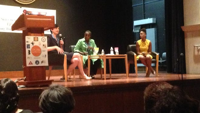From left to right, Martha Tellado, Cheryl Brannan and Kalisha Dessources speak at the Girls Empowerment Chat Session at the Yonkers library auditorium on Tuesday, Oct. 17, 2016.