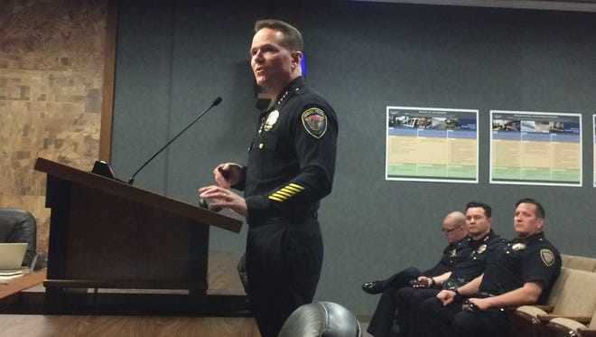 Oxnard Police Chief Scott Whitney addresses the City Council in February. Whitney said the Oxnard Police Department will not enforce federal immigration laws.
