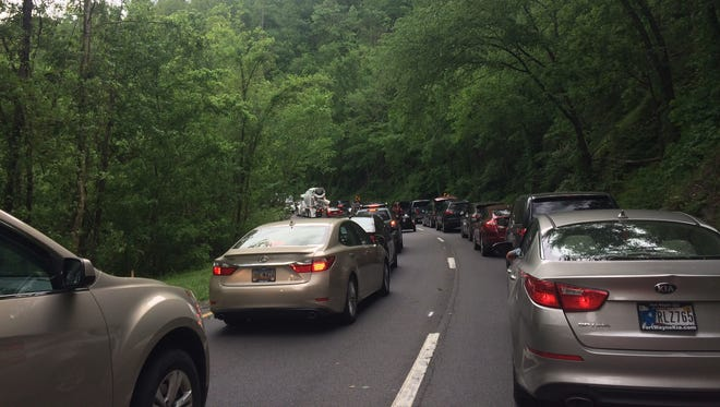 Traffic is gridlocked on the Spur between Pigeon Forge and Gatlinburg.