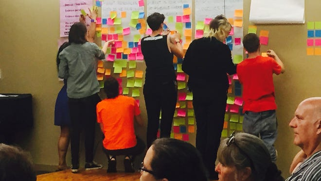Organizers of the Asheville's People's Council collect responses to questions about  the city's growth, development  and safety. The new group held its first meeting Wednesday night at Pack Memorial Library. More than 55 people attended.