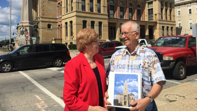 Sandy Lofland-Brown, president of the Tower Project, and her husband, Ken Brown, talk about private fundraising that has been happening for the past 21 years in hopes of putting a clock tower back on top of the Montgomery County Courthouse in Crawfordsville.