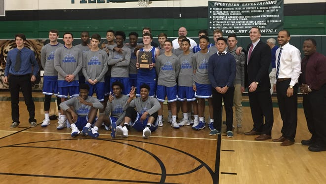The Scotch Plains-Fanwood boys basketball team won the Anthony Cotoia Holiday Tournament at South Plainfield for the second-straight year on Wednesday, Dec. 27, 2017.