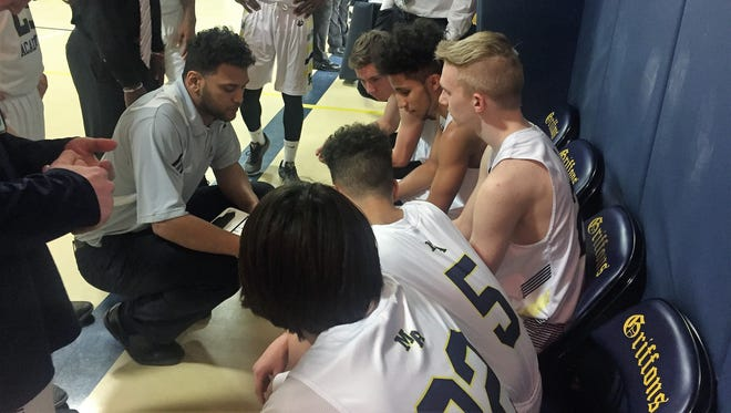 Marshall Academy coach Michael McClary talks to his team during a timeout against Barry County Christian on Tuesday.