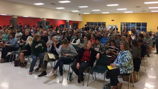 More than 150 people packed into the Williamston Middle School gymnasium Oct. 1, 2017 for a discussion of Williamston Community Schools proposed policy on transgender and gender non-conforming students.
