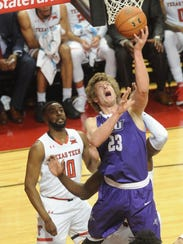 ACU's Hayden Howell drives against Texas Tech. The
