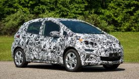 This is one of about 55 camouflaged Chevrolet Bolts being tested at General Motors Milford Proving Grounds.