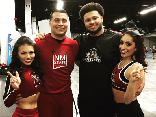 New Mexico State University Cheerleading Team members Lyla Islas, left, Frank Molina, Joseph Freundlich and Marissa Branch pose during the 2017 United Spirit Association Collegiate Championships in Anaheim, California. Islas and Molina placed first in the partner division, while Freundlich and Branch placed second.