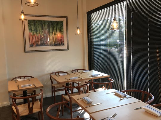 Wishbone chairs and photographs of carrots and other crops are part of the decor at Moody Rooster. The restaurant focusing on local, seasonal ingredients opened Aug. 29 at what used to be Kaminari Sushi in Thousand Oaks.