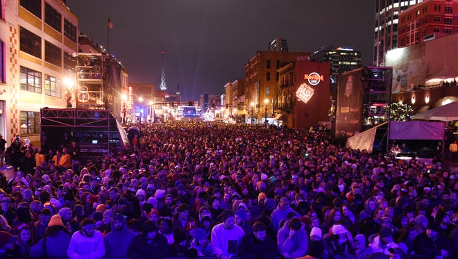 Crowds of people for Bash of Broadway in downtown Nashville on Thursday.