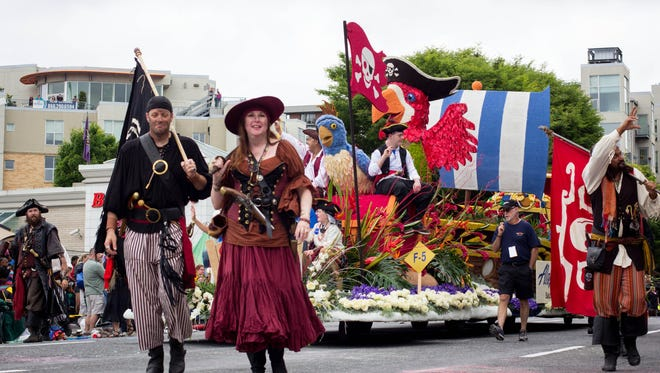 Portland Rose Festival's 4.2-mile parade will feature 14 all-floral floats, 17 marching bands and 19 equestrian units Saturday, June 6.