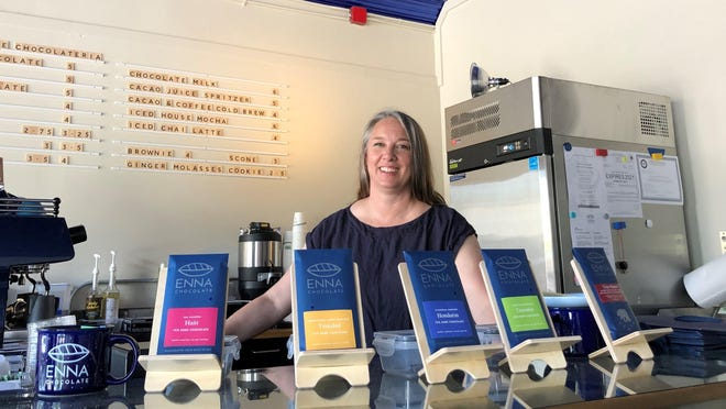 Enna Grazier stands in the cafe at her newly opened Enna Chocolate in Exeter.