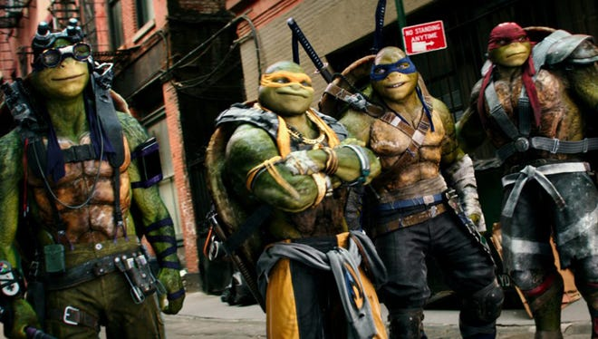 """Noel Fisher, Jeremy Howard, Alan Ritchson and Pete Ploszek in """"Teenage Mutant Ninja Turtles: Out of the Shadows."""" The movie is playing at Regal West Manchester Stadium 13, Frank Theatres Queensgate Stadium 13 and R/C Hanover Movies."""