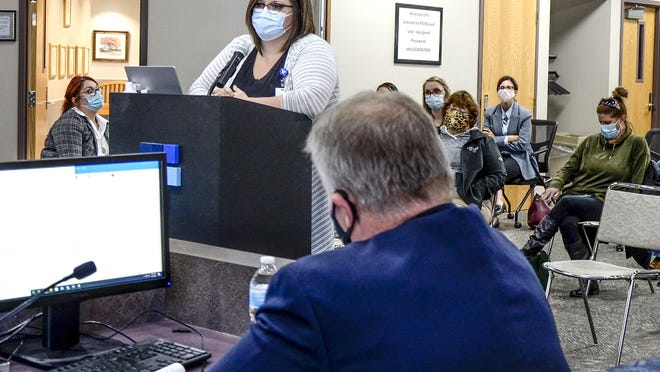 Colleen Drees, Finney County Health Department director, speaks to the Finney County Commission on Nov. 2.