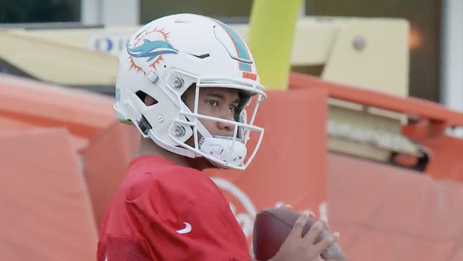 Quarterback Tua Tagovailoa in his first on-field practice with the Dolphins on Wednesday.