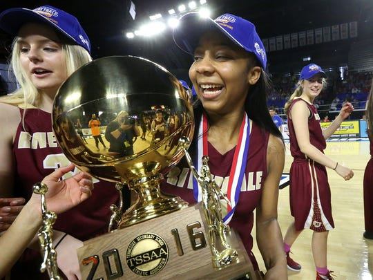 Riverdale's Anastasia Hayes (right) and teammate Caroline Patrick celebrate the  Class AAA championship. Riverdale won the state title despite losing a District 7-AAA tournament semifinal last season.