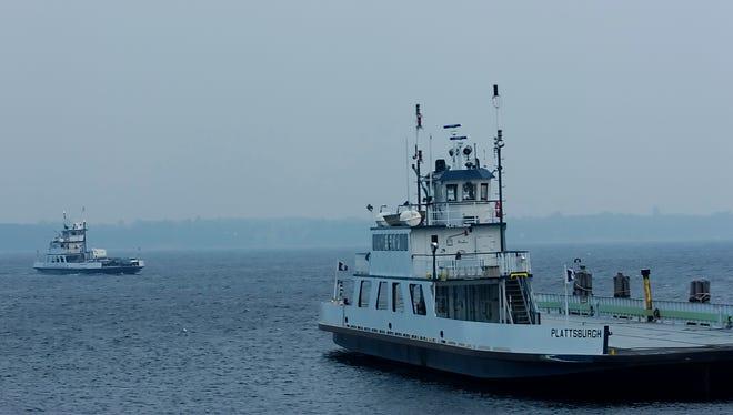Two Lake Champlain ferries on Lake Champlain.