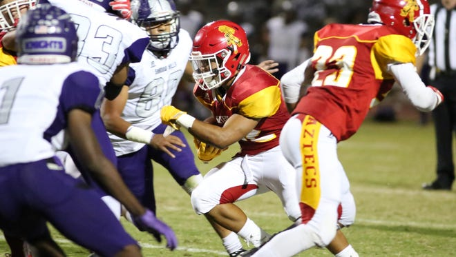 Palm Desert High School's Manny Sepulveda carries the football in from 2 yards out against Shadow Hills for a first-quarter touchdown Friday night.