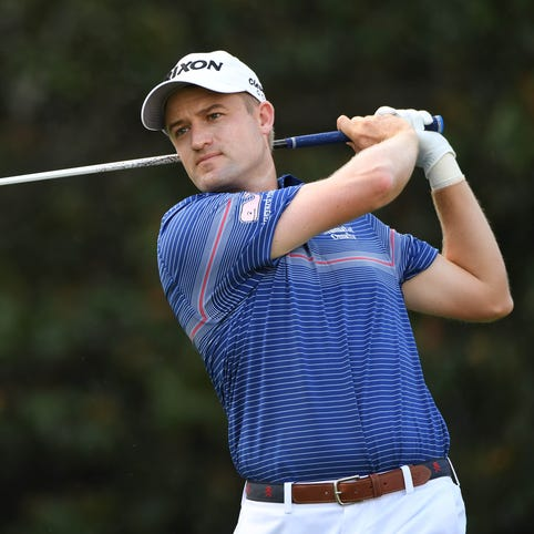 Russell Knox tees off during the third round of the Tour Championship at East Lake Golf Club on Sept. 24.