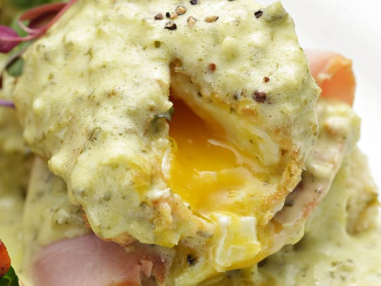 The hatch green chile hollandaise sauce over the Sierra
