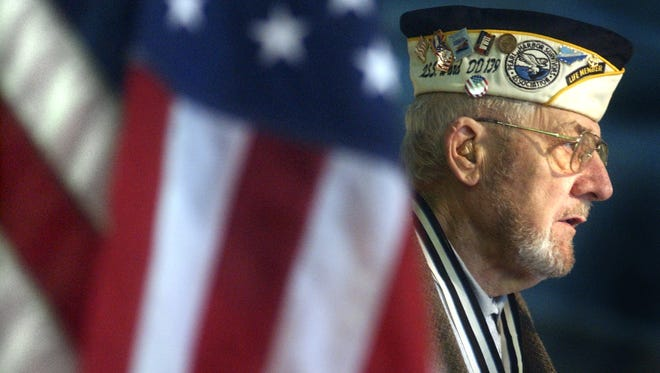 Pearl Harbor survivor Will Lehner addresses a gathering in the Wausau area in this 2003 file photo. Lehner, 94, will speak at a Pearl Harbor remembrance event on Sunday.