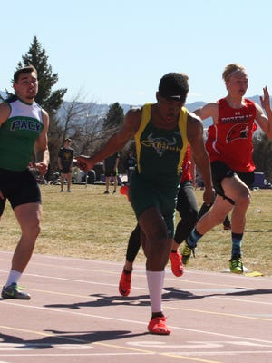 C.M. Russell's Damien Nelson won the 100 meter dash in 11.05 Friday at the Swede Dahlberg Invitational in Butte.