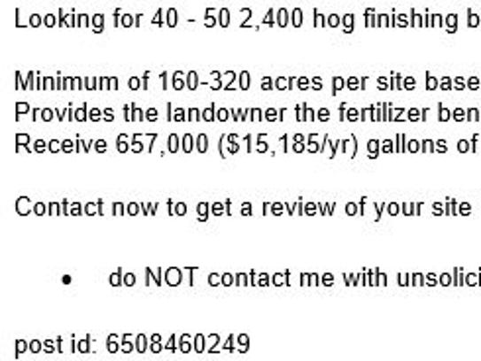 An adposted to Fort Dodge's Craigslist in February