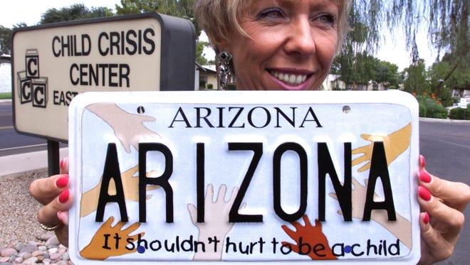 Arizona child-abuse prevention license plate.