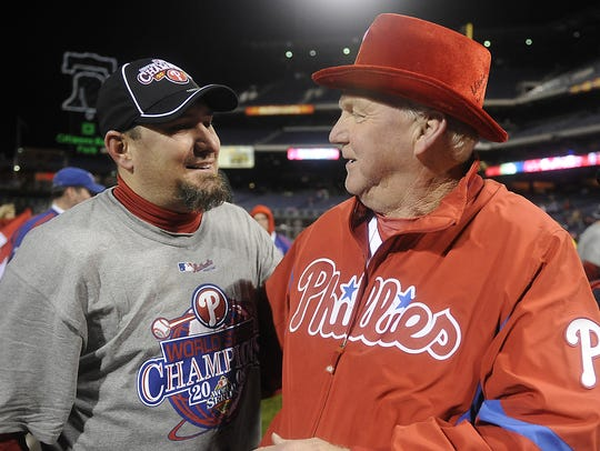 Phillies pitcher Scott Eyre and manager Charlie Manuel