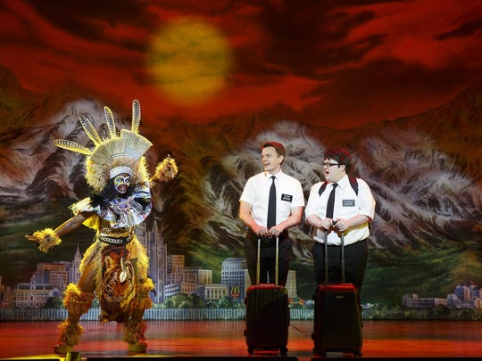 "Monica L. Patton, David Larsen and Cody Jamison Strand in the touring production of ""The Book of Mormon."""