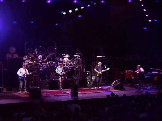 The Grateful Dead on stage on July 19, 1989, at Alpine Valley in East Troy, Wisconsin.