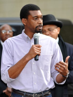Jackson City Councilman Tyrone Hendrix speaks during a Working Together Jackson rally in 2015.